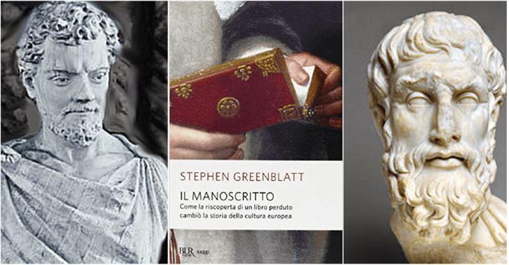 A sinistra Lucrezio. Al centro la copertina de Il Manoscritto. A destra Epicuro