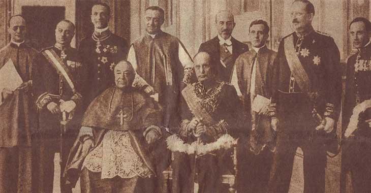Il cardinale Pietro Gasparri e Benito Mussolini - Patti Lateranensi