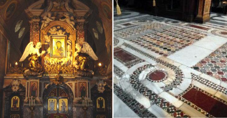Abbazia di San Nilo: il pavimento e l'iconostasi