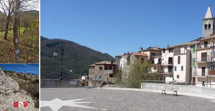 Il simbolo del cammino di San Benedetto e la piazza di Affile