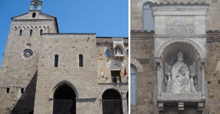 Veduta laterale della Cattedrale di Anagni con la statua di Bonifacio VIII