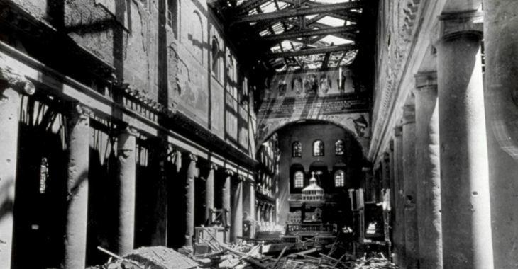 La basilica di San Lorenzo dopo il bombardamento