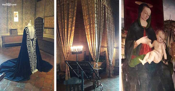 Castello di Gradara, interno della stanza di Francesca e pala di Giovanni Santi