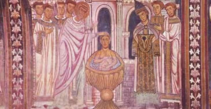 Particolare del ciclo pittorico nell'Oratorio della Basilica dei Santi Quattro Coronati