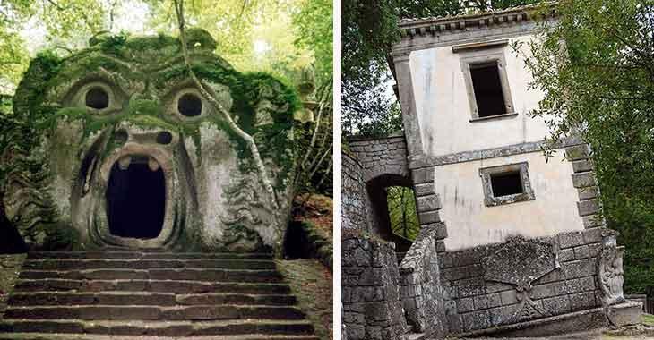 Due delle meraviglie del Giardino dei Mostri di Bomarzo: l'Orco e la Casa Pendente