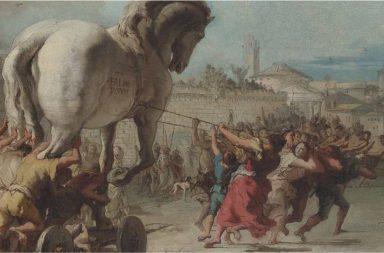 Ulisse e il cavallo di Troia in un dipinto di G.D. Tiepolo