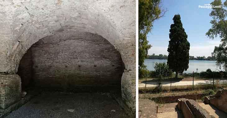 Porto di Traiano, a sinistra particolare dell'acquedotto; a destra l'area che ospitava la darsena