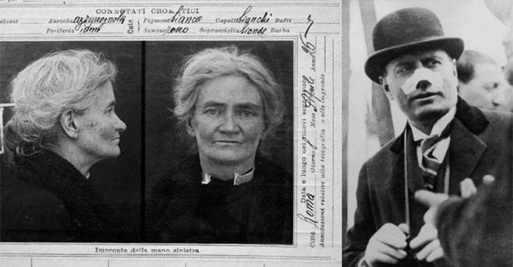 Manicomi e fascismo. A sinistra Violet Gibson, a destra Benito Mussolini