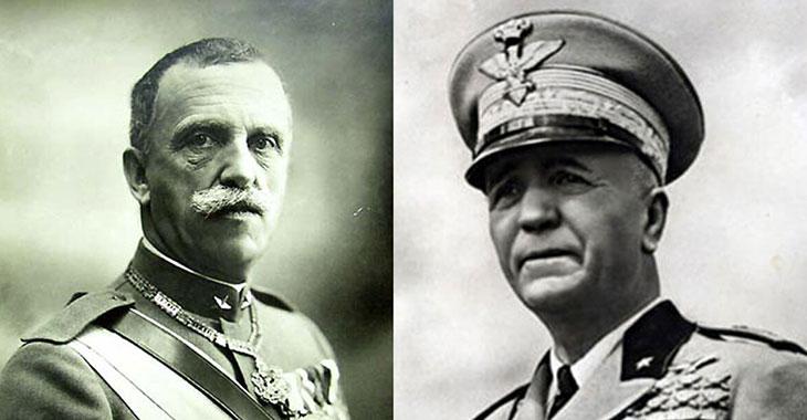 A sinistra Vittorio Emanuele III, a destra Pietro Badoglio