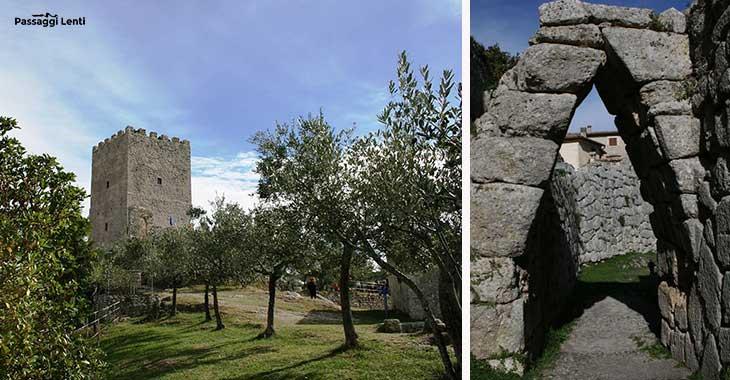 Arpino (FR): Torre di Cicerone sull'Acropoli, l'arco a sesto acuto e le mura poligonali
