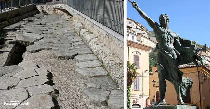 Arpino, i resti del Decumano e la statua di Cicerone