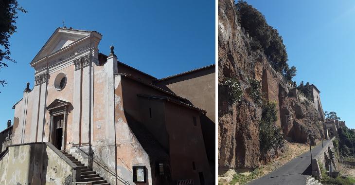 Ceri, a destra la via di accesso al borgo. A sinistra la facciata della Chiesa di Santa Maria Immacolata