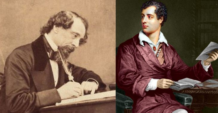 Due illustri spettatori delle decapitazioni a Roma: a sinistra Charles Dickens, a destra Lord Byron