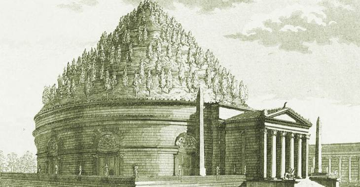 Simulazione grafica dell'architettura originaria del Mausoleo di Augusto