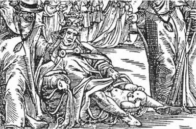 Raffigurazione del parto della Papessa Giovanna