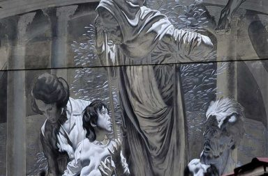 Particolare del murales dedicato a P.P. Pasolini a Torpignattara