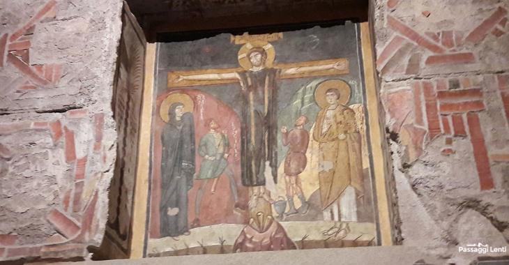 Santa Maria Antiqua. Particolare dell'affresco della Crocifissione