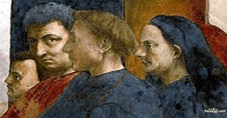 Cappella Brancacci: particolare dei quattro artisti. Da sinistra: Masolino, Masaccio, Leon Battista Alberti, Filippo Brunelleschi