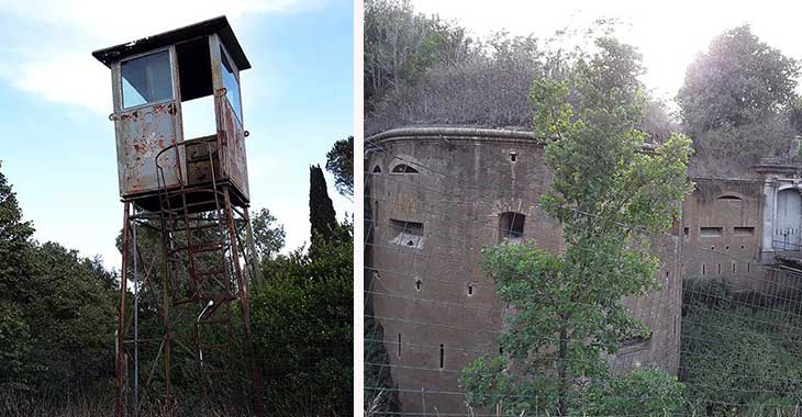 Forte Bravetta, a sinistra una toretta di avvistamento, a destra le mura del forte