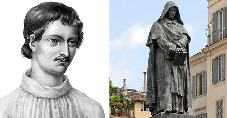 Giordano Bruno. A destra la statua a Campo de' Fiori