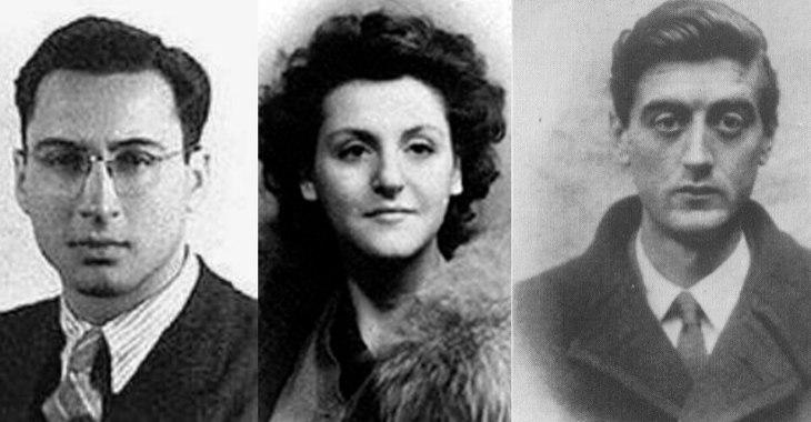 Tre protagonisti dell'attentato di Via Rasella: da sinistra Rosario Bengivegna, Carla Capponi e Franco Calamandrei