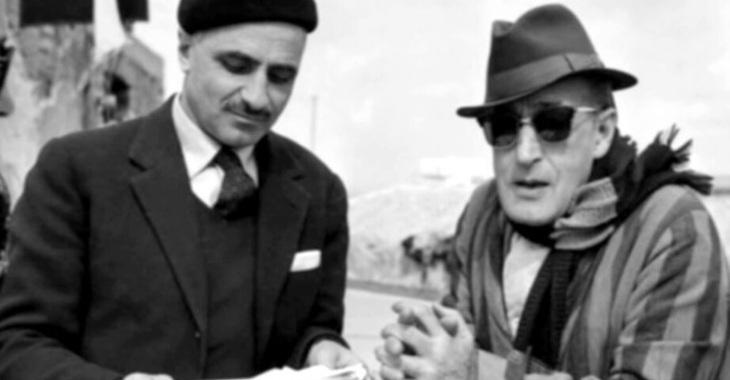 Totò e Mario Monicelli in una pausa sul set de I Soliti Ignoti