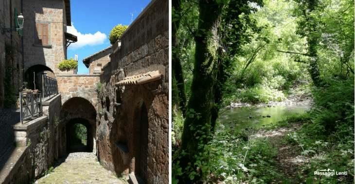 Porta Canale a Barbarano Romano e una vista del Biedano