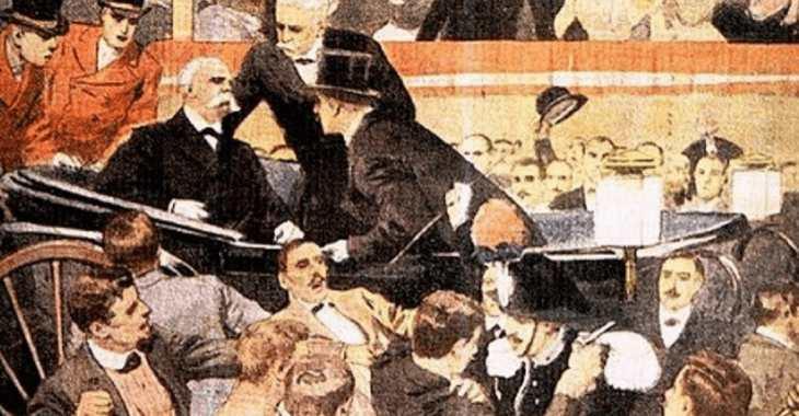 L'illustrazione dell'attentato al re Umberto I disegnata da Achille Beltrame per la copertina della Domenica del Corriere