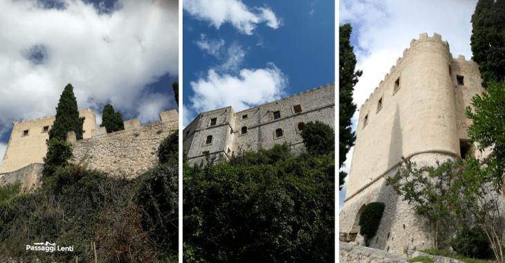 Castello di Rocca Sinibalda visto da varie angolazioni dal basso
