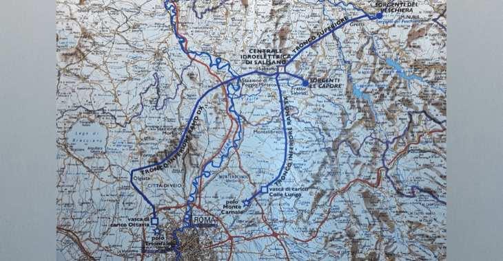 Il percorso dell'Acquedotto del Peschiera dal Reatino a Roma