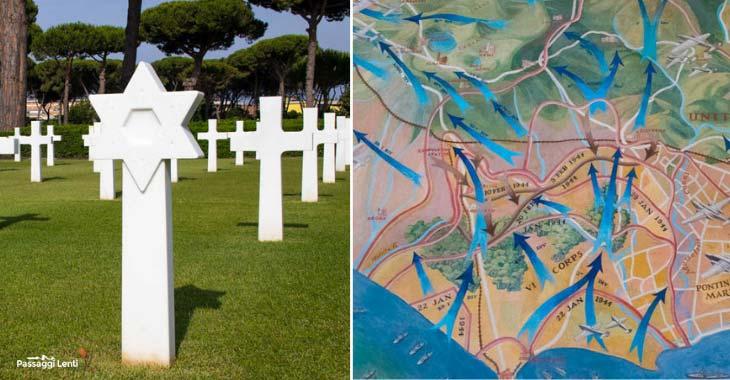 Cimitero militare di Nettuno, le lapidi e una mappa dello sbarco americano in Italia