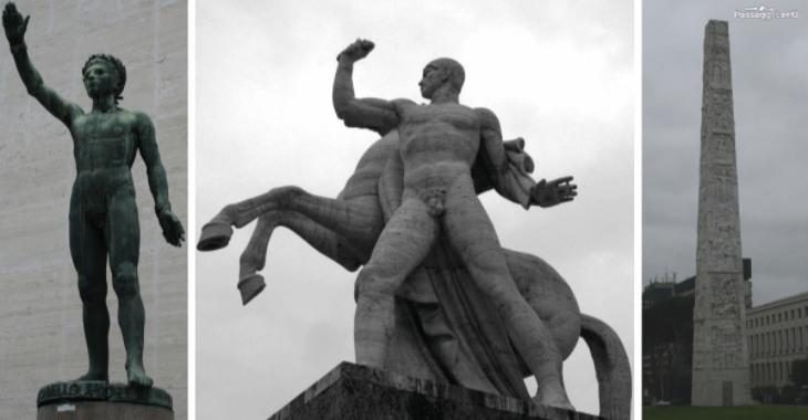 Statue nel Quartiere Eur a Roma