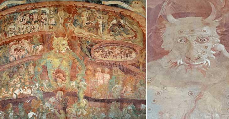 L'Inferno ad opera di Buffalmacco, conservato nel Camposanto monumentale di Pisa