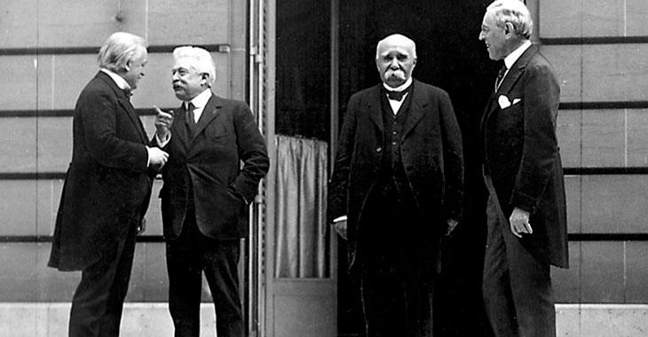 I protagonisti della Conferenza di pace di Parigi: da sinistra a destra: Lloyd George, Vittorio Emanuele Orlando, Georges Clemenceau, Woodrow Wilson