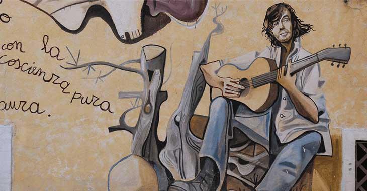 Murales dedicato a Fabrizio De André ad Orgosolo