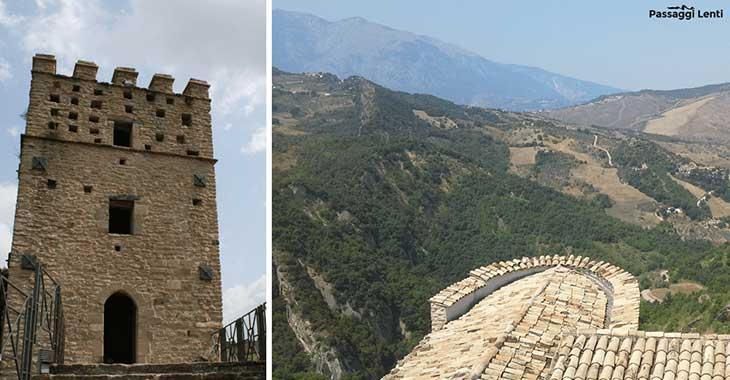 La torre e il panorama dal castello di Roccascalegna