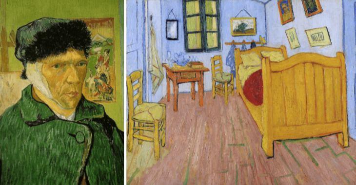 """Vincent van Gogh, """"Autoritratto con orecchio bendato""""(1889) e """"La camera di Vincent ad Arles"""" (1888)"""
