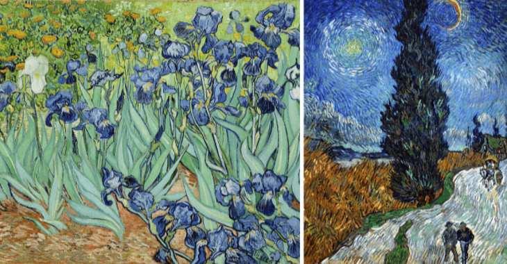 """Vincent van Gogh, """"Iris"""" (1889) e """"Strada con cipresso e stella"""" (1890)"""
