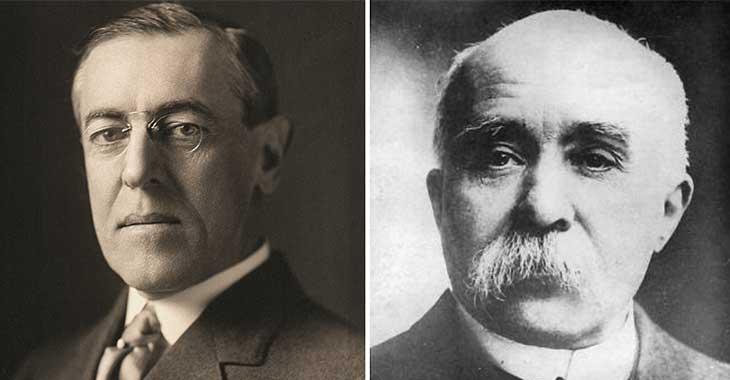 A sinistra il presidente degli Stati Uniti d'America Woodrow Wilson, a destra il Primo Ministro francese Georges Clemenceau