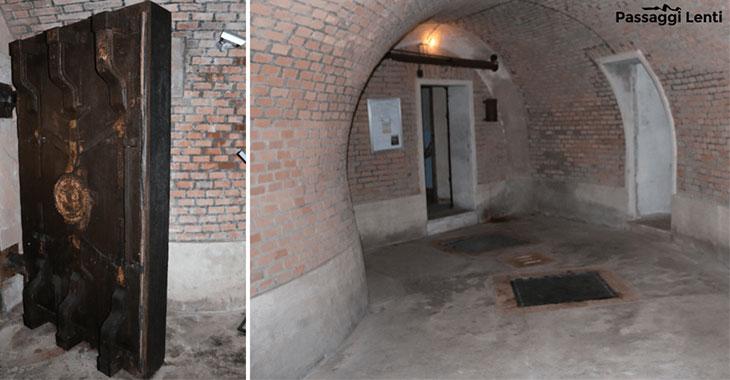Bunker di Villa Ada: a sinistra la porta carrabile del peso di quasi 2 tonnellate