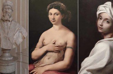 Alcune opere di Palazzo Barberini, al centro la Fornarina di Raffaello