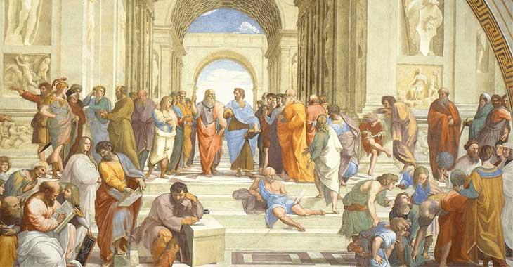 """Raffaello Sanzio, """"Scuola di Atene"""" (1509-1511 circa). Al centro dell'affresco le figure di Platone e Aristotele"""