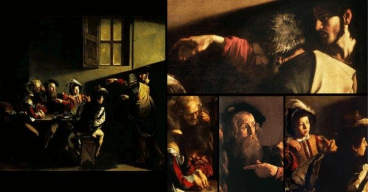 """Caravaggio, """"La Vocazione di San Matteo"""", Cappella Cottarelli, Chiesa di S. Luigi dei Francesi"""
