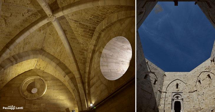 Le possenti arcate di Castel del Monte la sua tipica pianta ottogonale