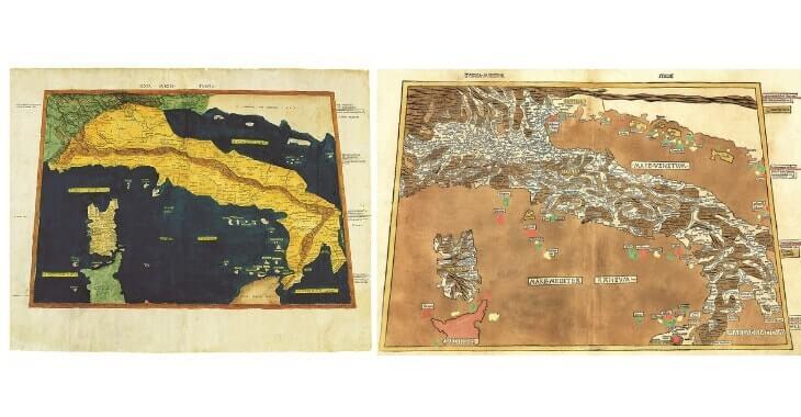 Due mappe raffiguranti l'Italia realizzate da Nicolò Germanico