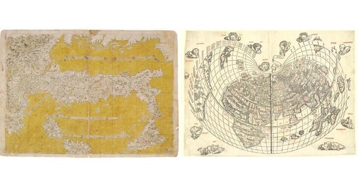 A sinistra la carta di Francesco Rosselli, a destra il Planisfero Silvanus