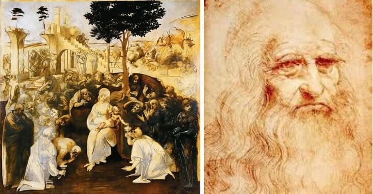 A sinistra l'Adorazione dei Magi. A destra l'autoritratto di Leonardo da Vinci