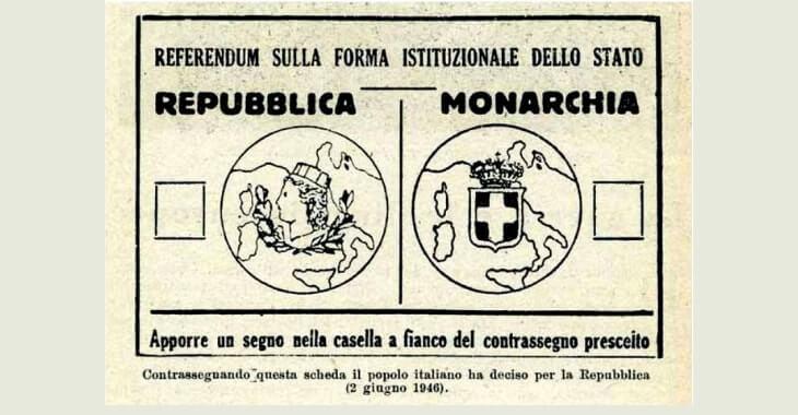 La scheda elettorale del referendum del 2 giugno 1946