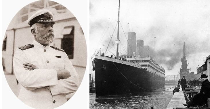 Titanic. A sinistra il capitano Edward Smith