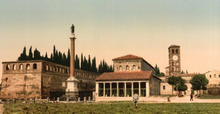 La Basilica di San Lorenzo fuori le mure in una foto d'epoca